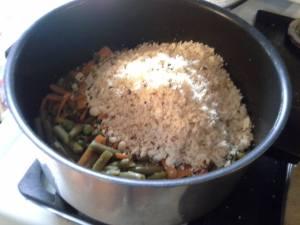 adding in cauliflower rice